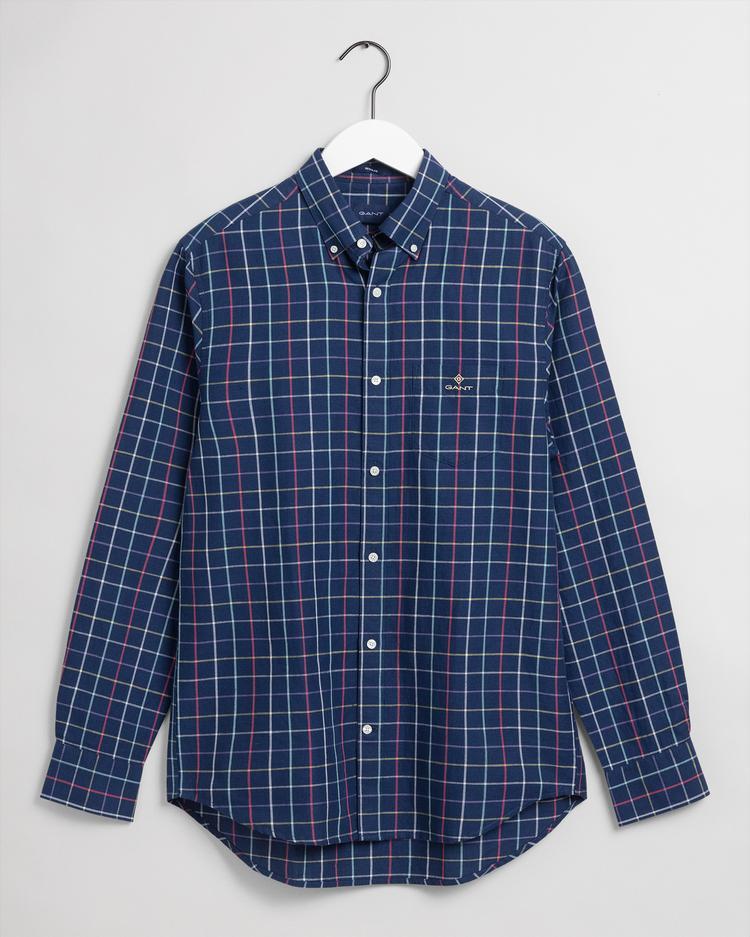 Gant Erkek Mavi Kareli Regular Fit Tech Prep Keten Gömlek