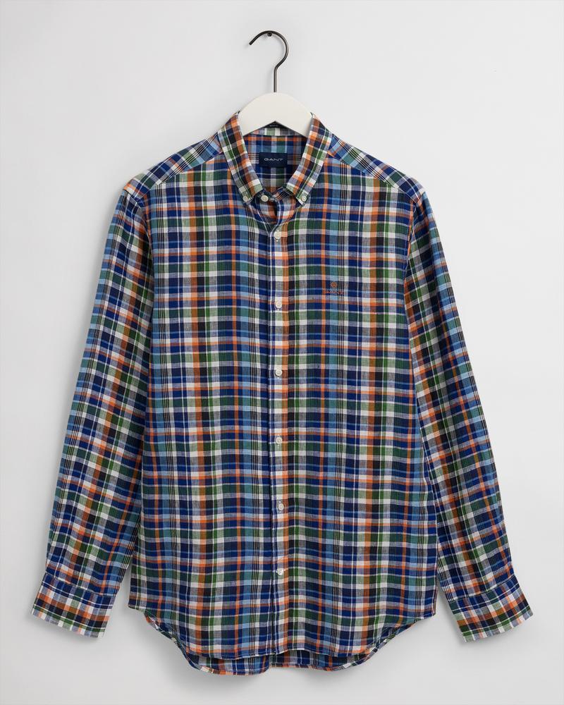 Gant Erkek Renkli Kareli Regular Fit Keten Gömlek