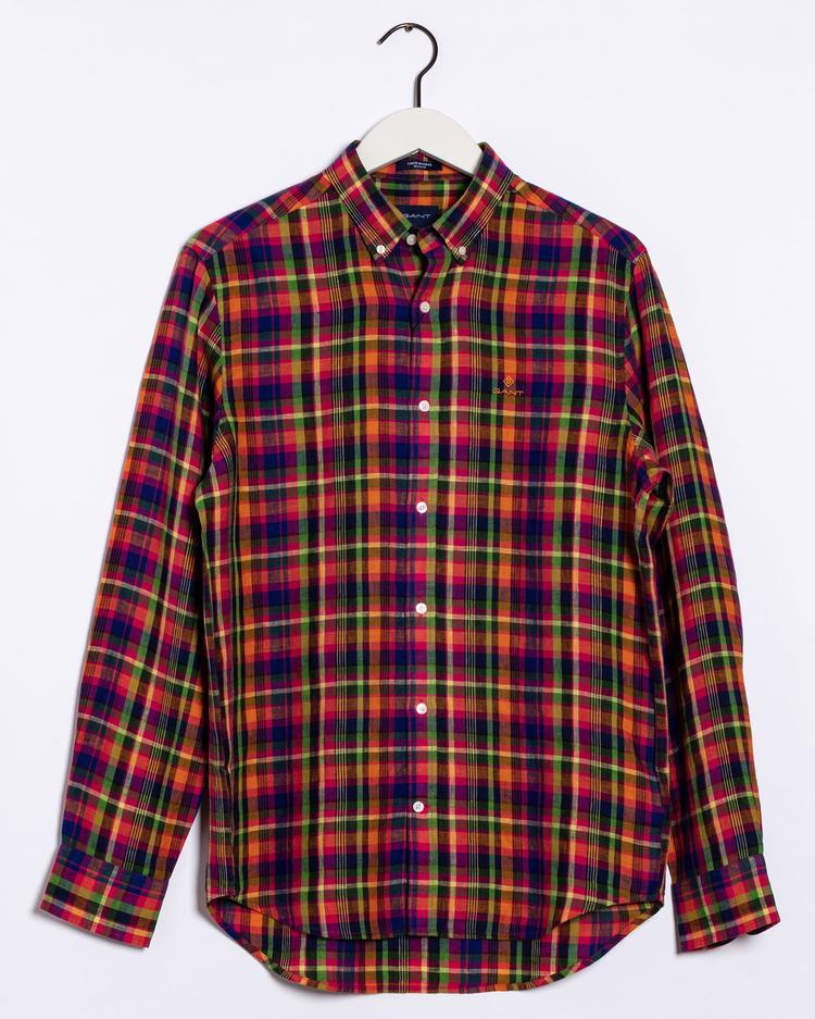 Gant Erkek Pembe Kareli Regular Fit Keten Gömlek