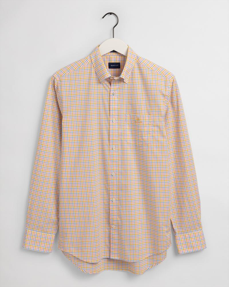 Gant Erkek Sarı Kareli Regular Fit Gömlek