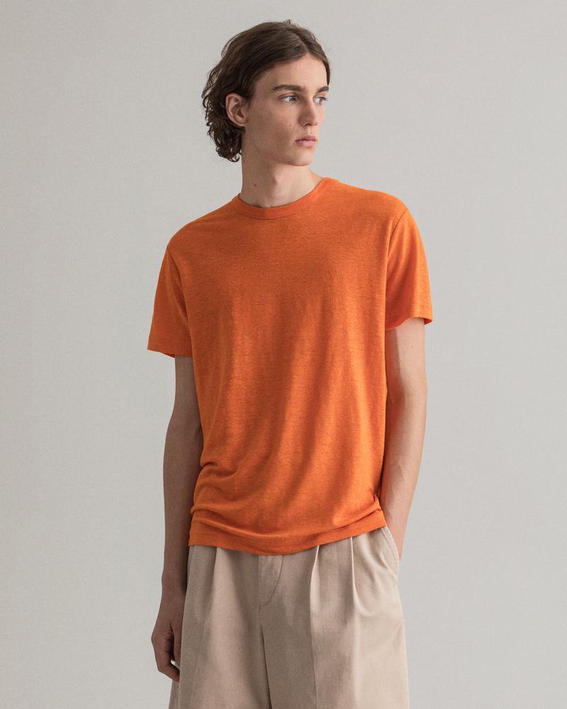 Gant Erkek Turuncu Keten T-Shirt