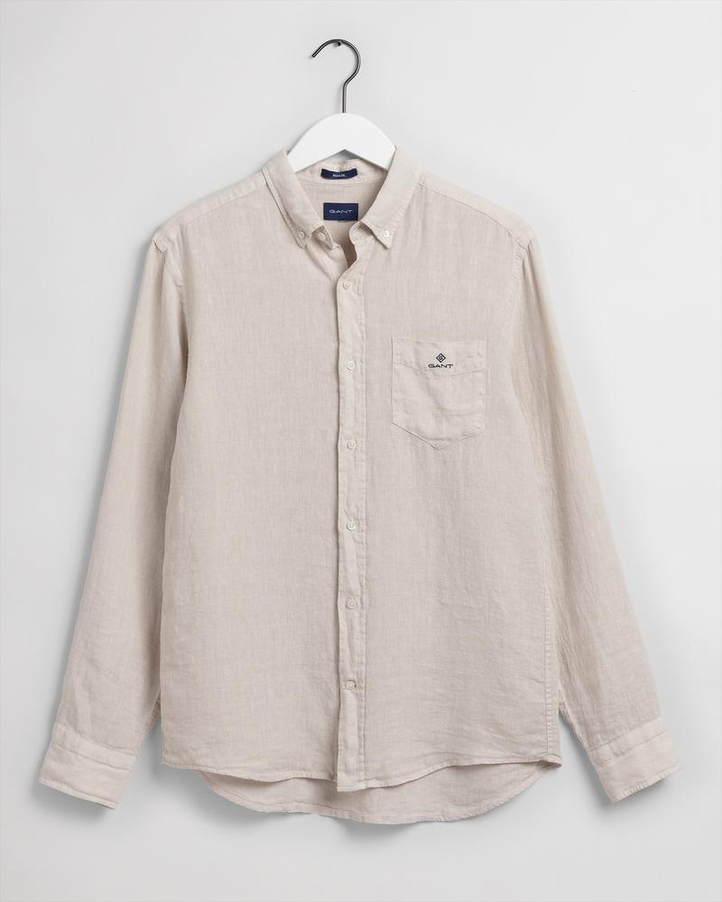 Gant Erkek Bej Regular Fit Uzun Kollu Keten Gömlek
