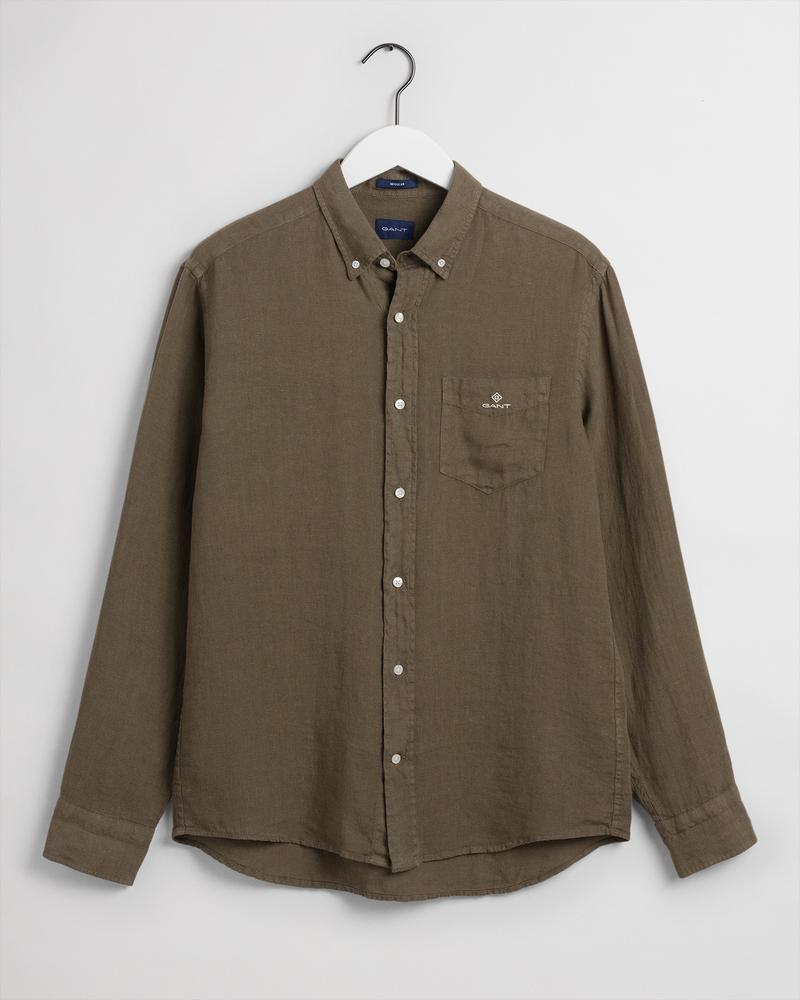 Gant Erkek Yeşil Regular Fit Uzun Kollu Keten Gömlek