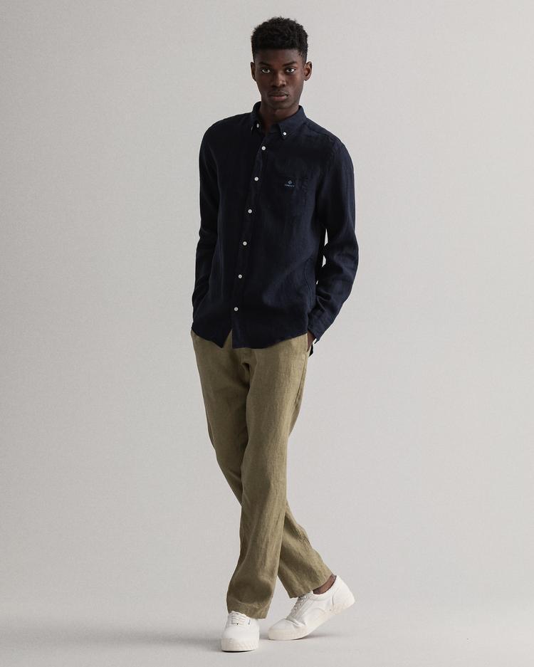 Gant Erkek Lacivert Regular Fit Uzun Kollu Keten Gömlek