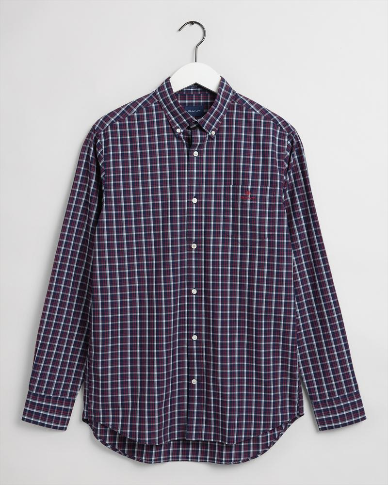 Gant Erkek Kırmızı Kareli Regular Fit Tech Prep Gömlek