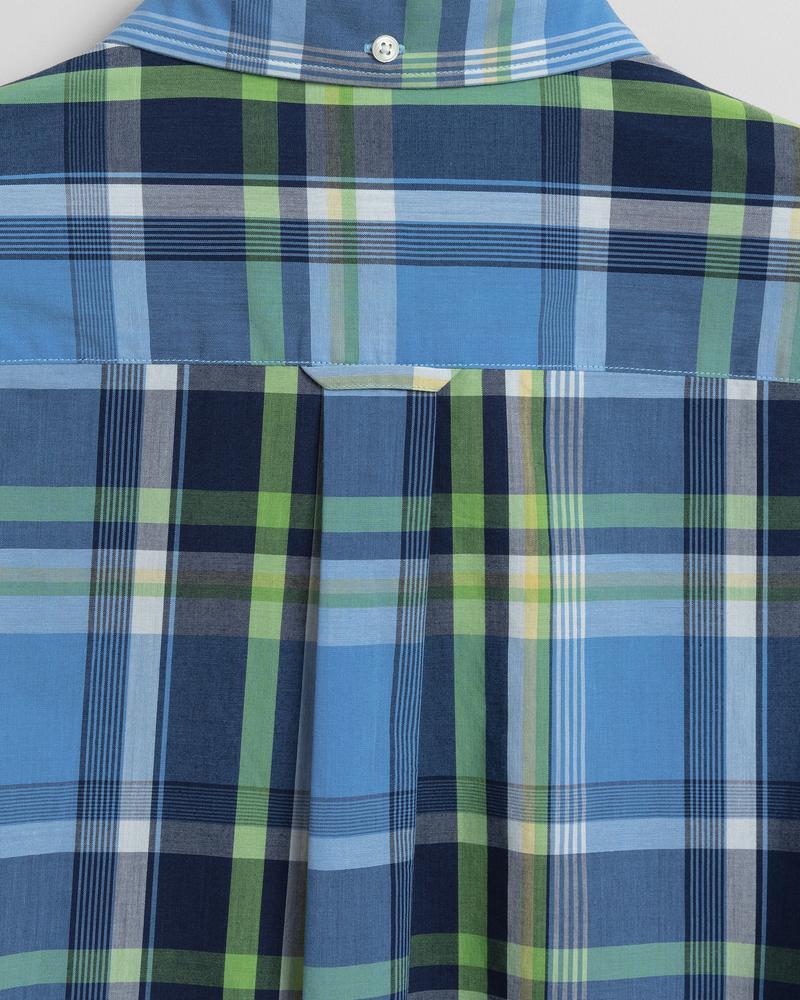 Gant Erkek Mavi Kareli Regular Fit Tech Prep Gömlek