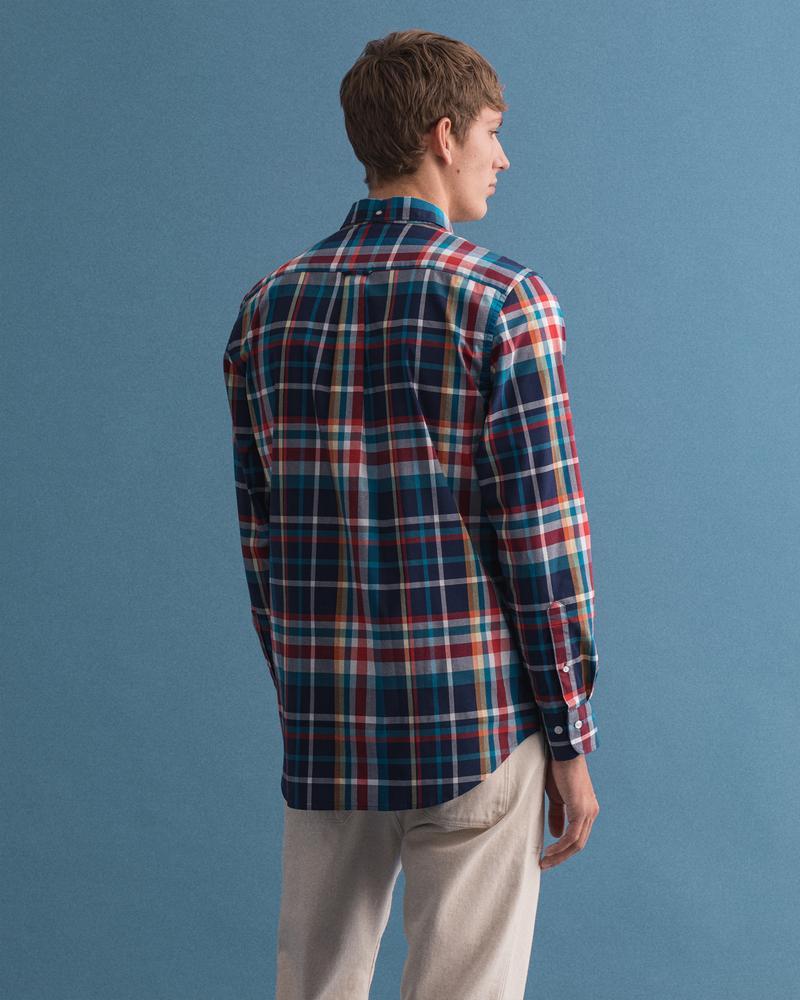 Gant Erkek Kareli Mavi Regular Fit Tech Prep Gömlek