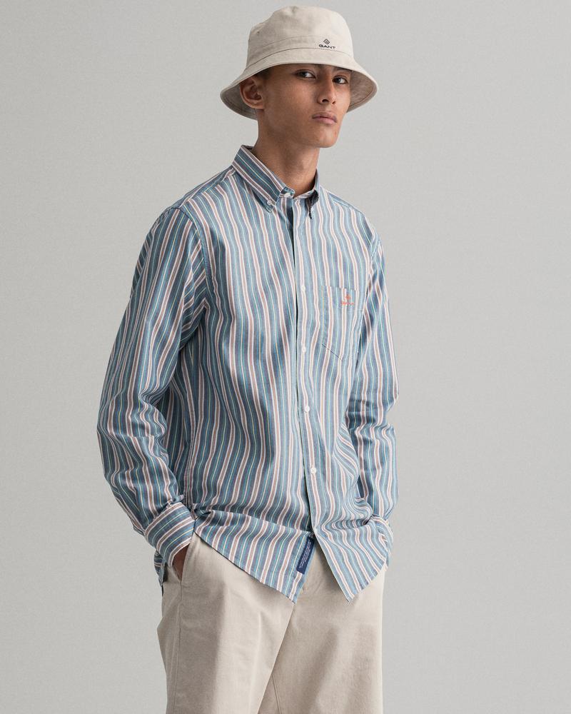 Gant Erkek Mavi Çizgili Regular Fit Tech Prep Gömlek