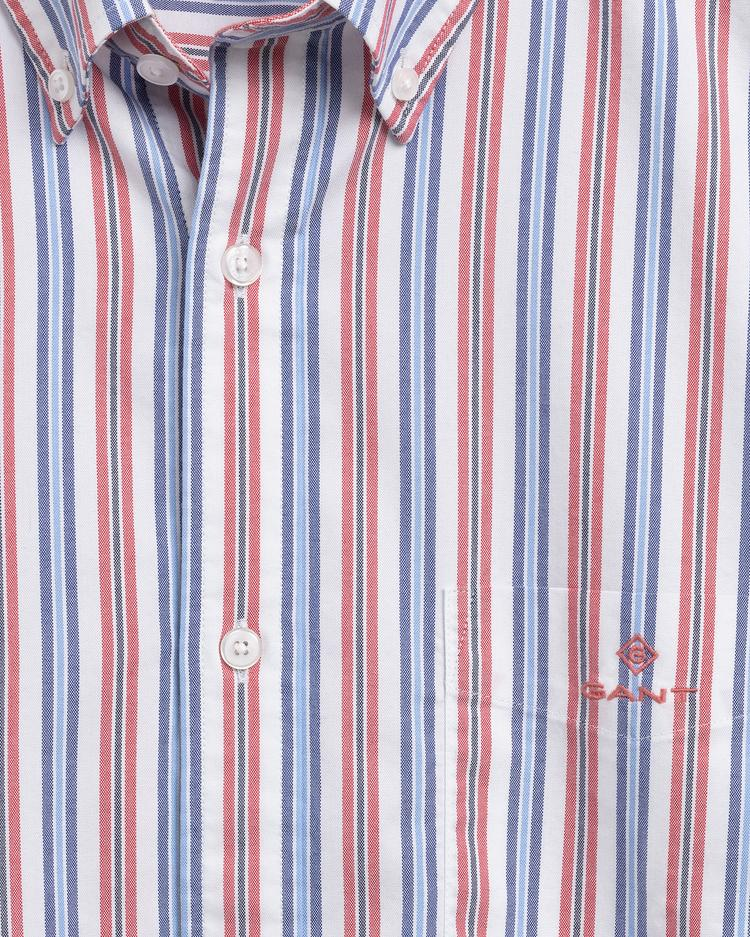 Gant Erkek Kırmızı Regular Fit Tech Prep Çizgili Gömlek