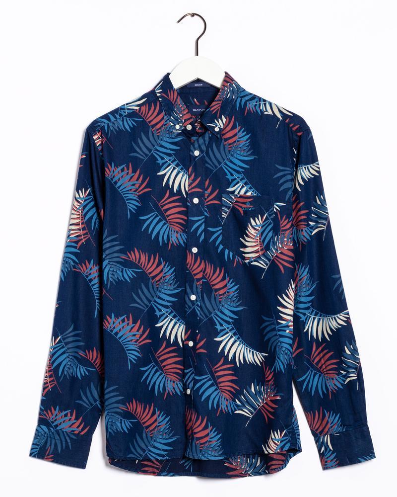 Gant Erkek Mavi Desenli Regular Fit Tech Prep Gömlek