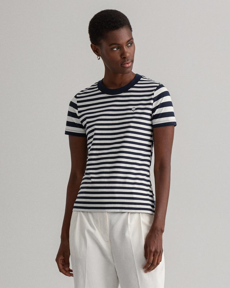 Gant Kadın Lacivert Çizgili T-Shirt