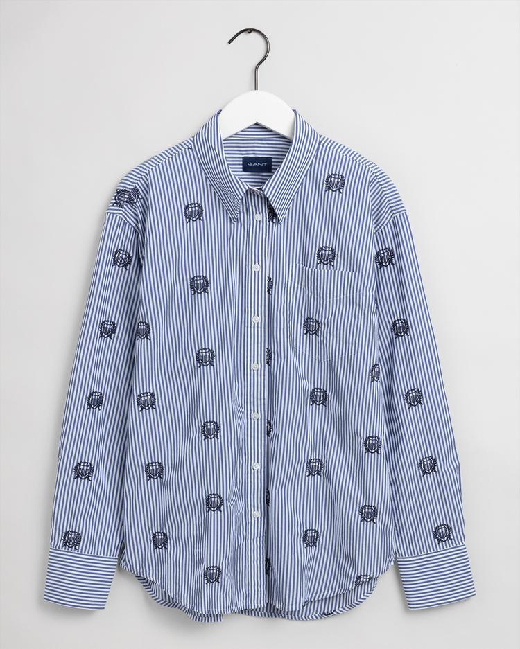 Gant Kadın Mavi Çizgili Relaxed Fit Gömlek