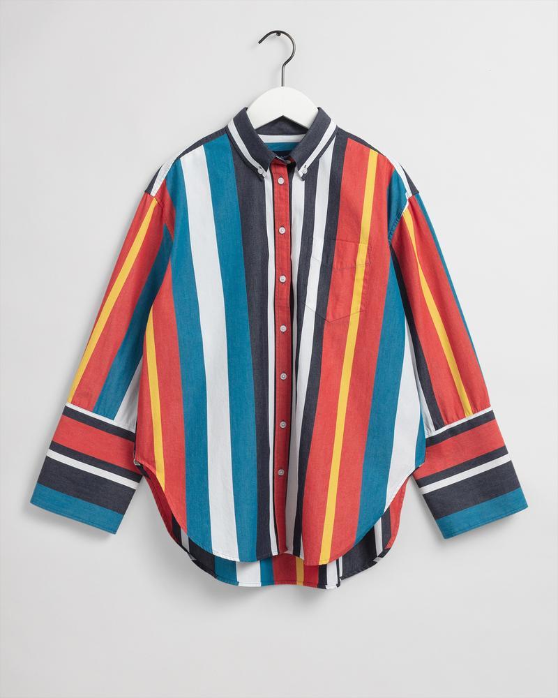 Gant Kadın Renkli Çizgili Oversize Gömlek
