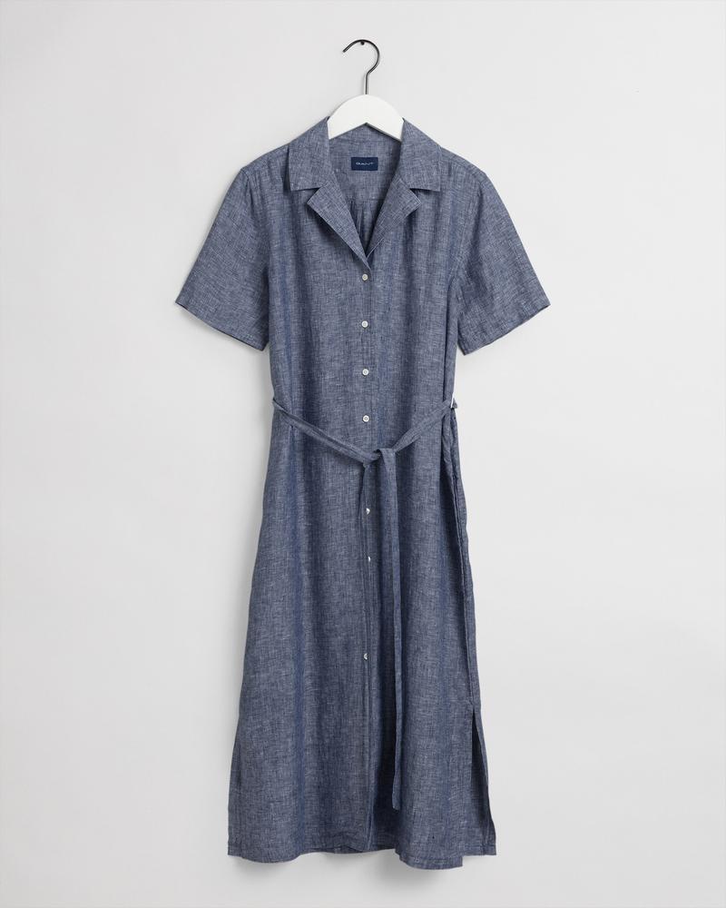 GANT Kadın Mavi Keten Elbise