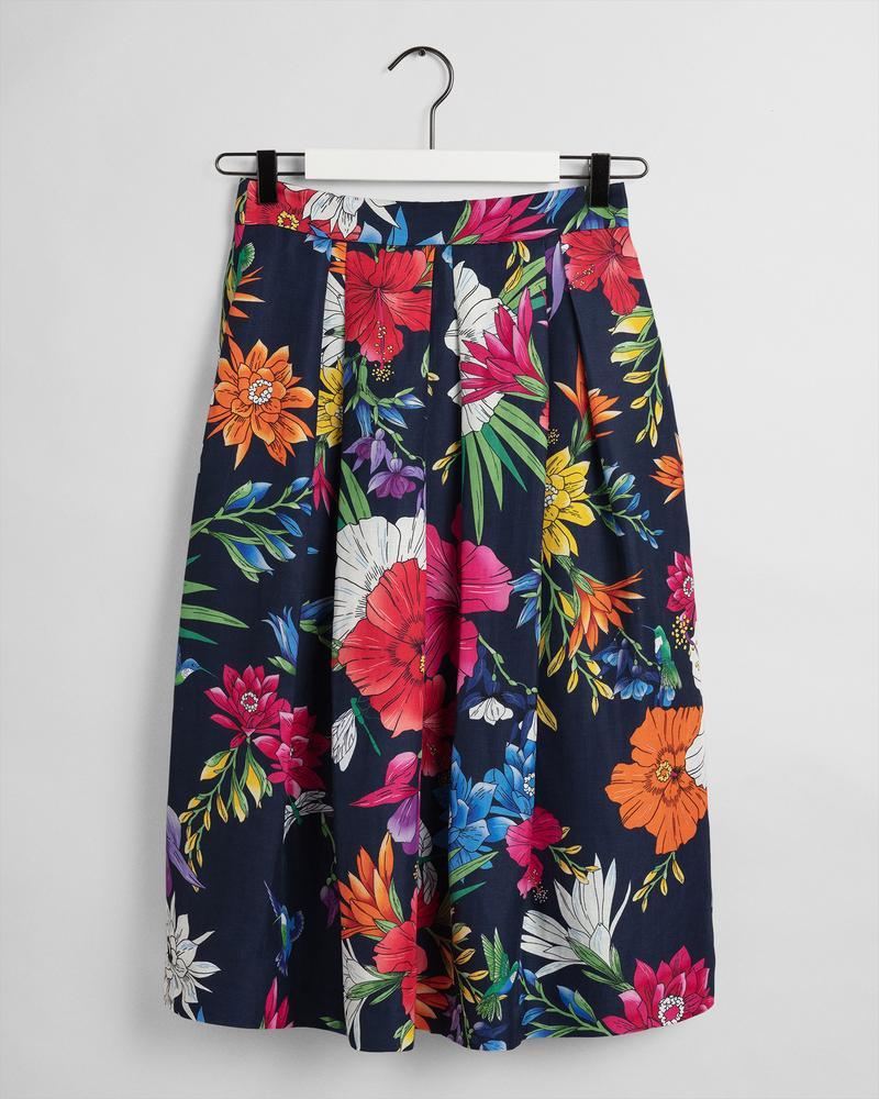 Gant Kadın Renkli Floral Desenli Keten Etek