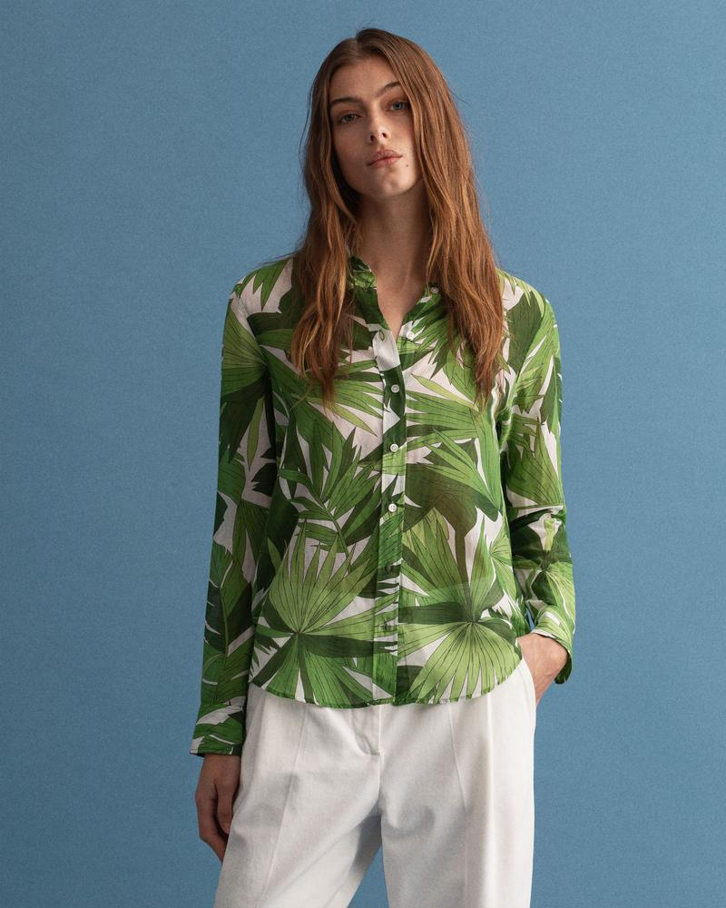 Gant Kadın Yeşil Floral Desenli İpek Gömlek