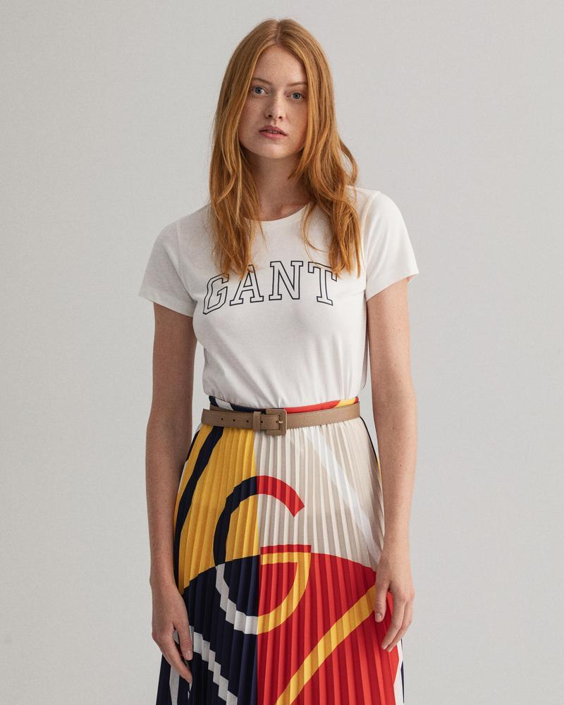 GANT Kadın Beyaz Logo Baskılı T-Shirt