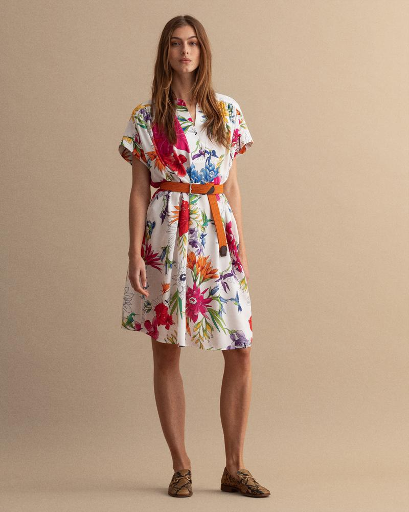 Gant Kadın Krem Floral Desenli Elbise