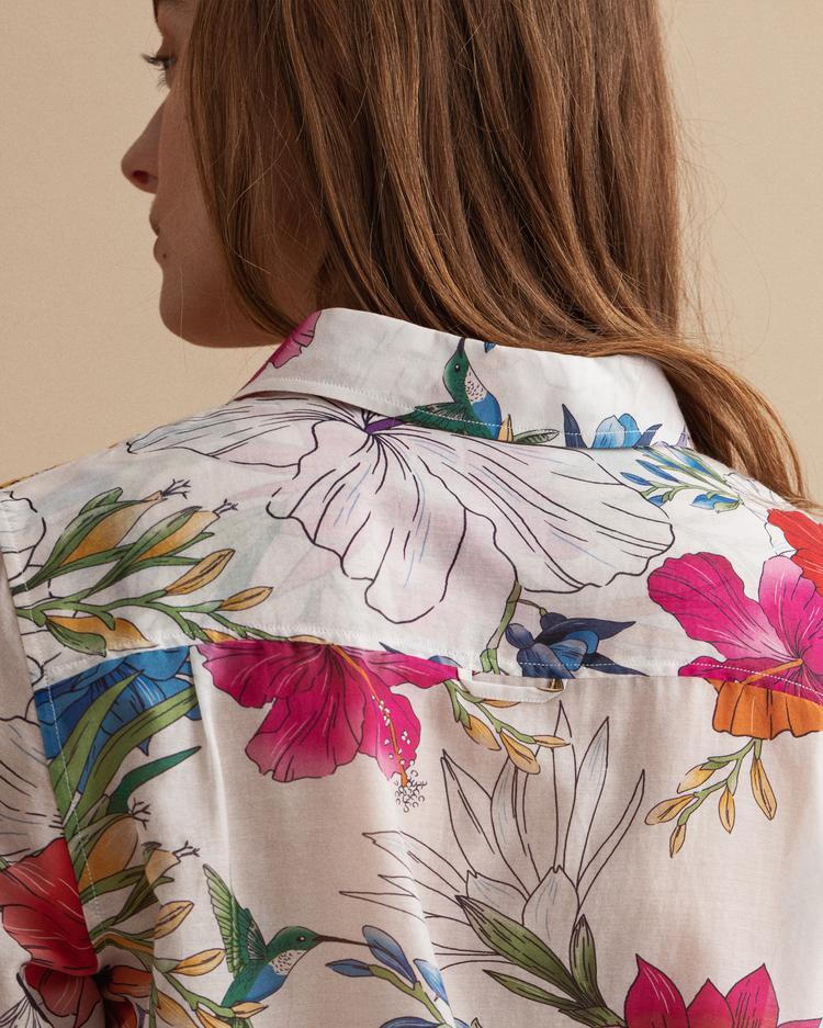 GANT Kadın Floral Desenli Beyaz Gömlek