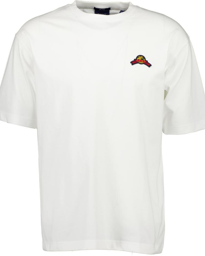 Gant Erkek Beyaz Relaxed Fit Kısa Kollu T-shirt