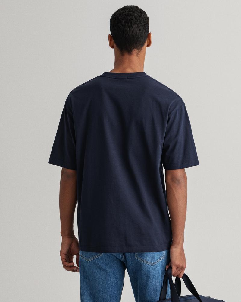 GANT Erkek Lacivert Relaxed Fit Retro Logo T-Shirt