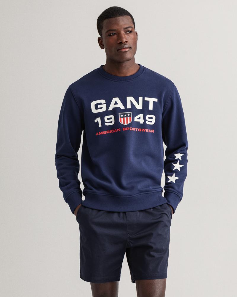 Gant Erkek Lacivert Baskılı Uzun Kollu Sweatshirt
