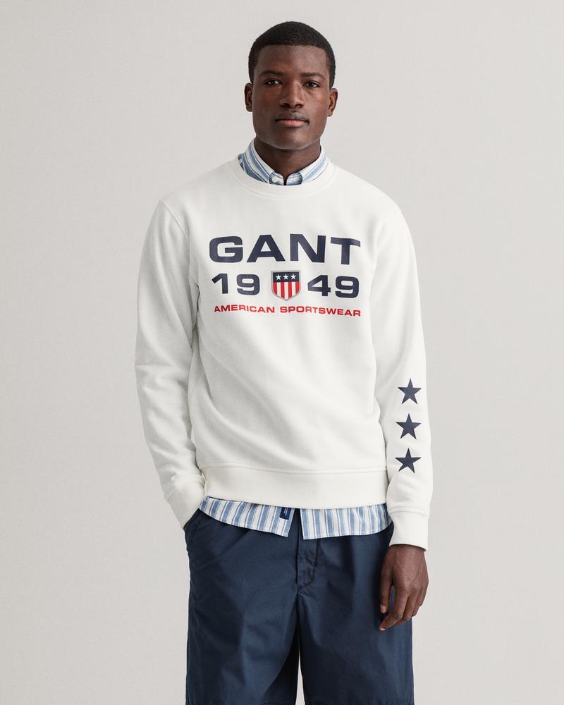 Gant Erkek Beyaz Baskılı Uzun Kollu Sweatshirt