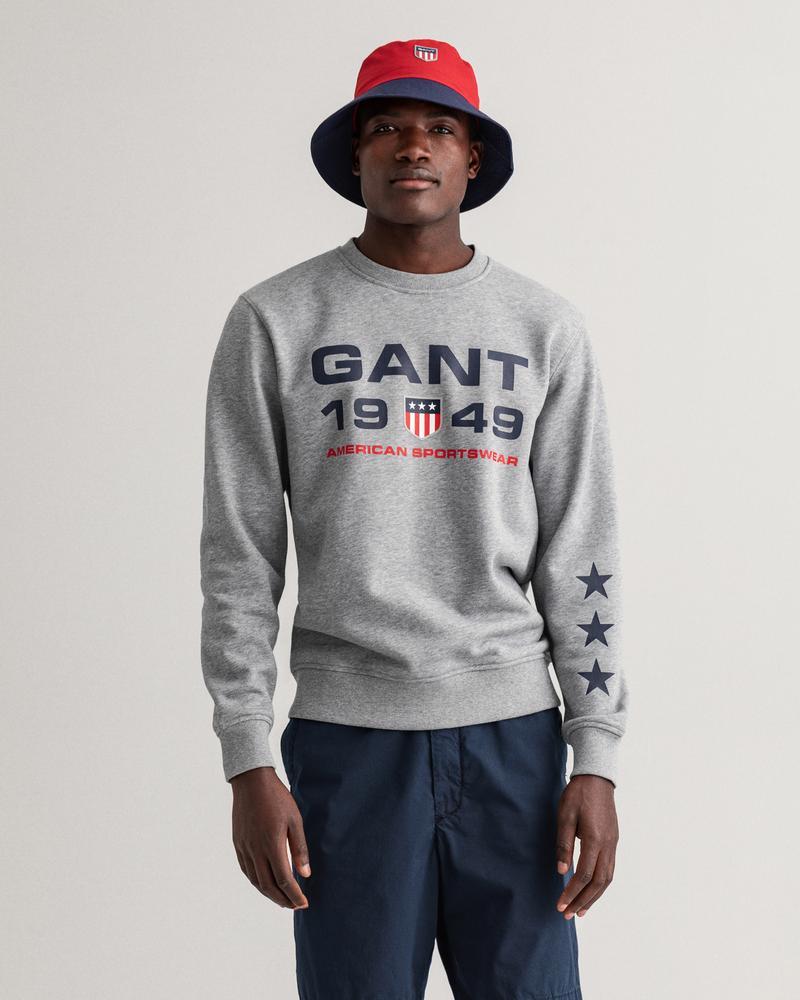 Gant Erkek Gri Baskılı Uzun Kollu Sweatshirt