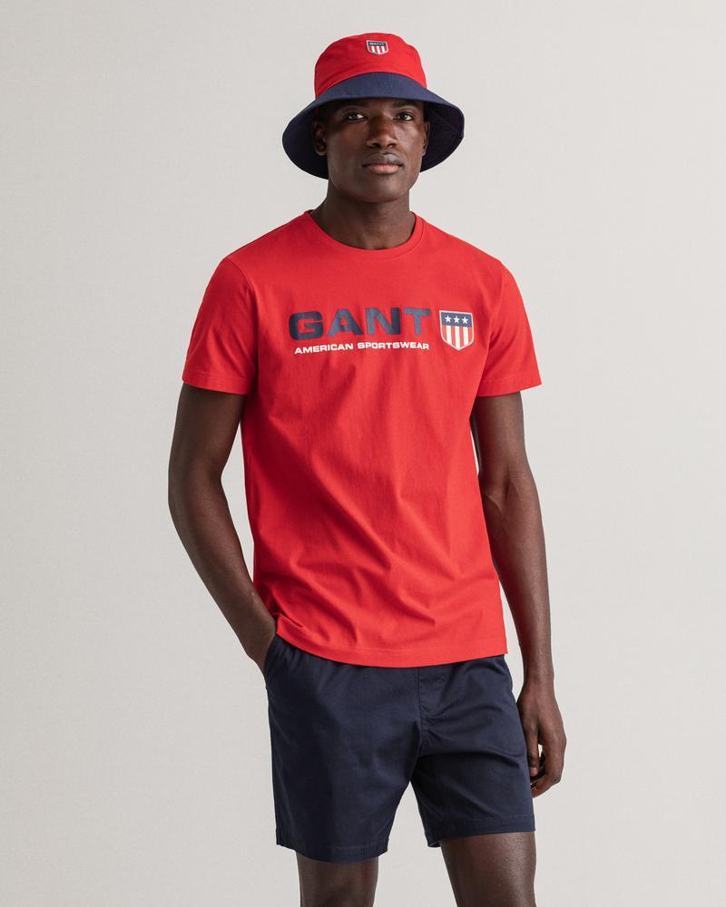 Gant Erkek Kırmızı Baskılı Kısa Kollu Regular Fit T-shirt
