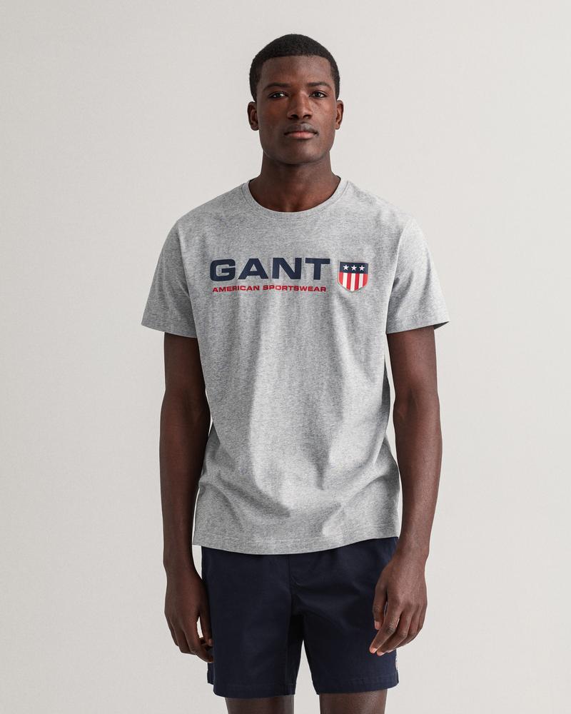 Gant Erkek Gri Baskılı Kısa Kollu Regular Fit T-shirt