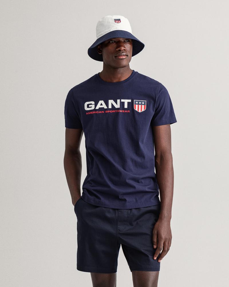 Gant Erkek Lacivert Baskılı Kısa Kollu Regular Fit T-shirt