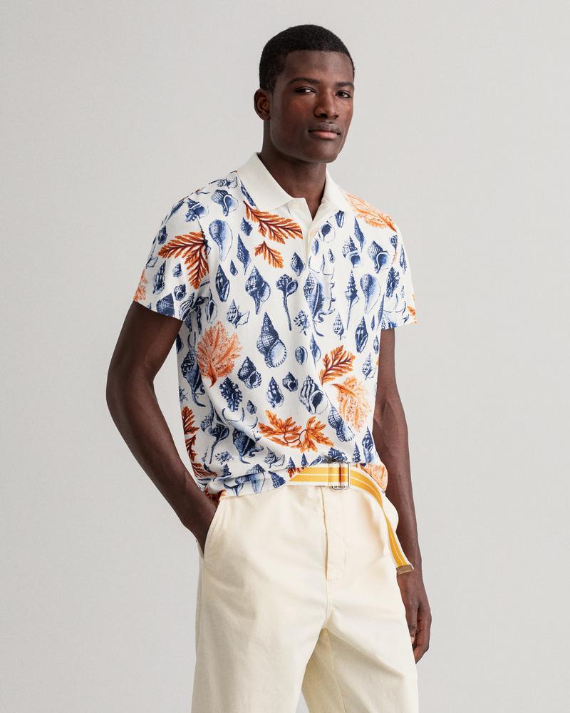 Gant Erkek Beyaz Desenli Kısa Kollu Regular Fit Polo