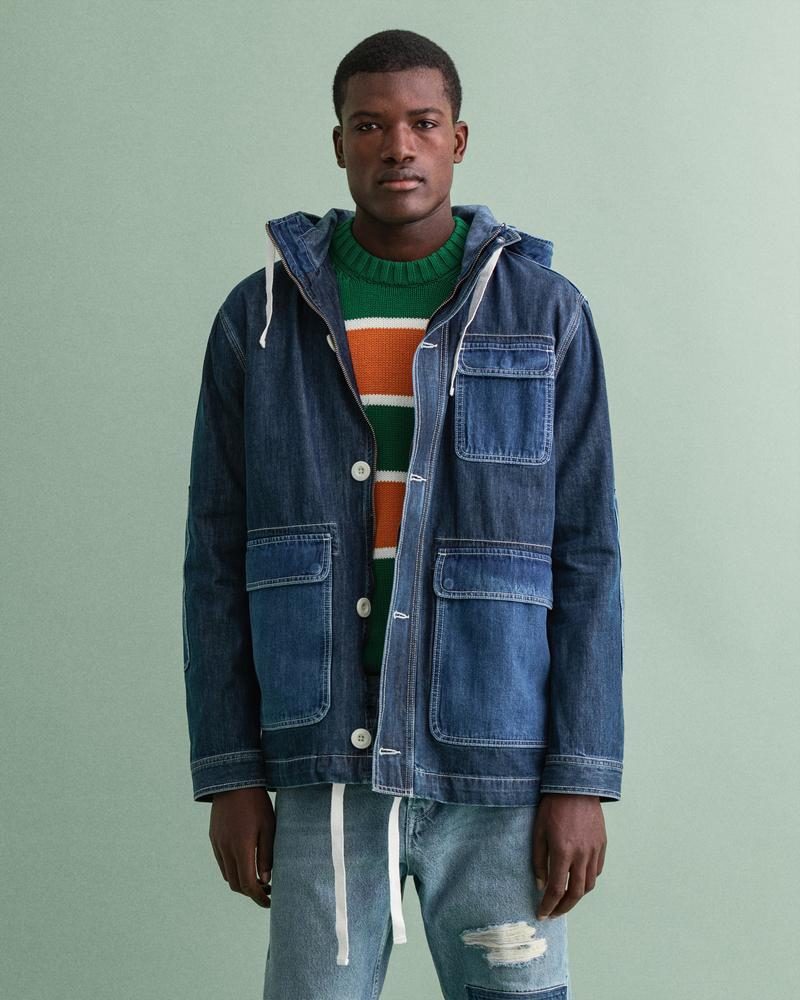 Gant Erkek Mavi Regular Fit Denim Ceket