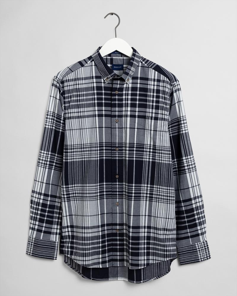 Gant Erkek Beyaz Kareli Uzun Kollu Regular Fit Gömlek
