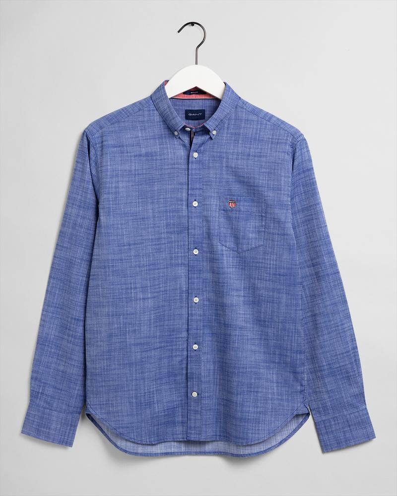 Gant Erkek Mavi Düz Uzun Kollu Regular Fit Gömlek