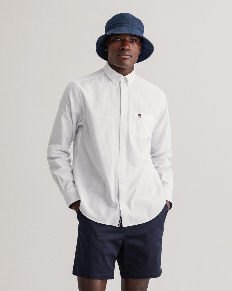 Gant Erkek Beyaz Düz Uzun Kollu Regular Fit Gömlek
