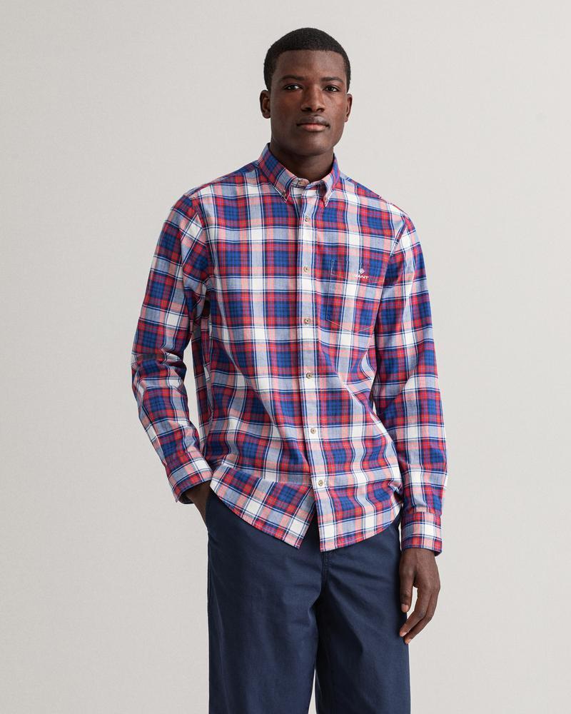 Gant Erkek Kırmızı Kareli Uzun Kollu Regular Fit Gömlek