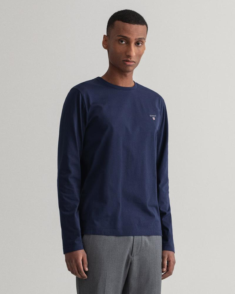 GANT Erkek Lacivert Regular Fit Uzun Kollu T-Shirt