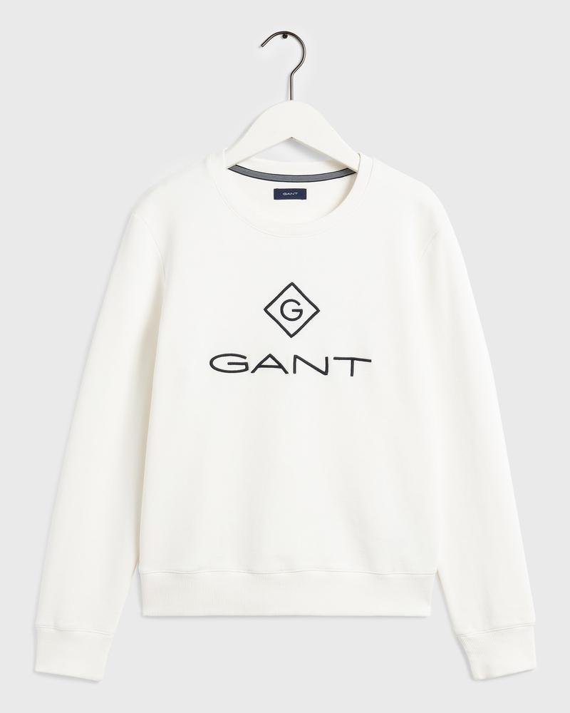 GANT Kadın Beyaz Relaxed Fit Sweatshirt