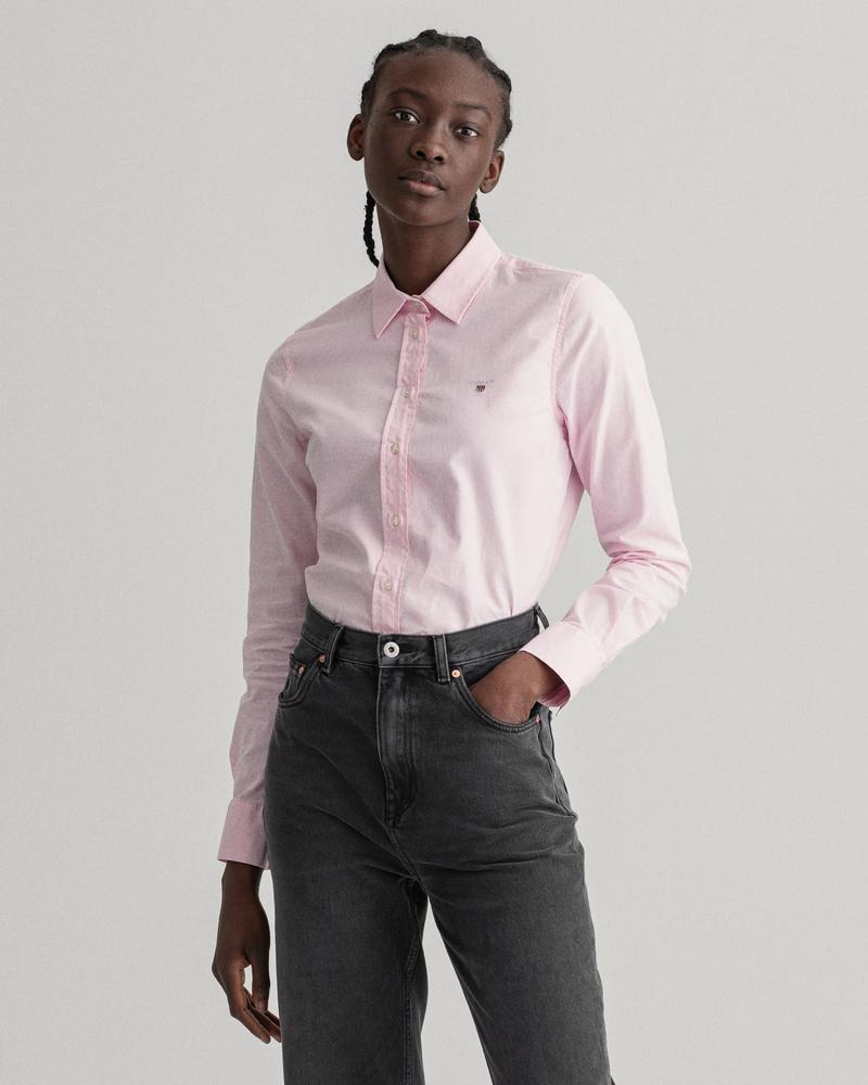 GANT Kadın Açık Pembe Slim Fit Stretch Oxford Gömlek
