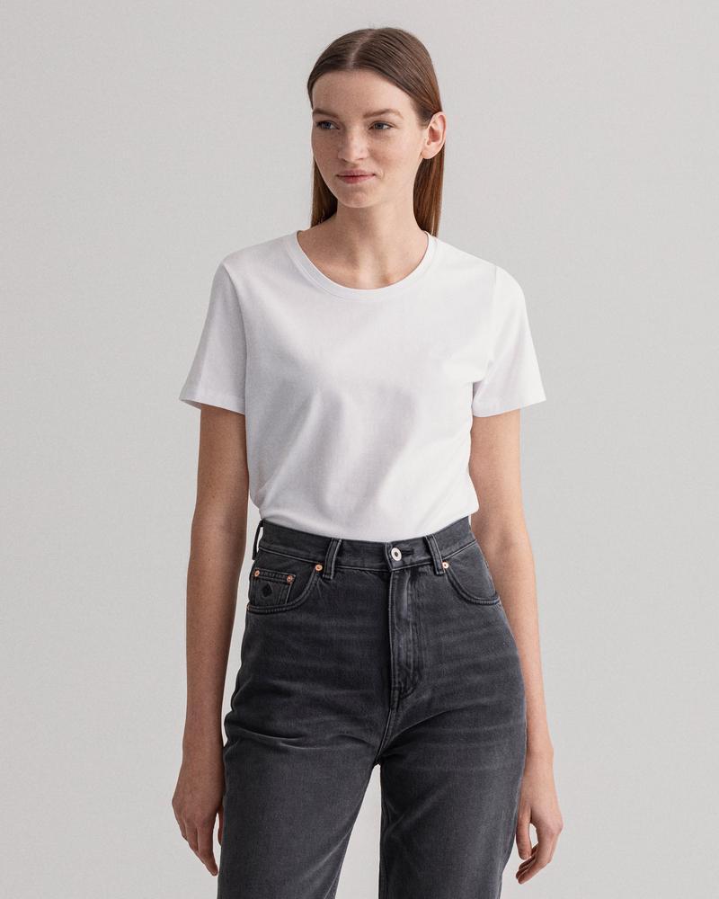 Gant Kadın Beyaz Slim Fit Kısa Kollu T-Shirt