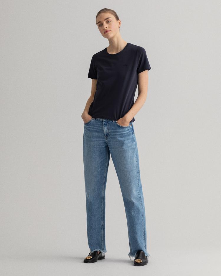 Gant Kadın Lacivert Slim Fit T-Shirt