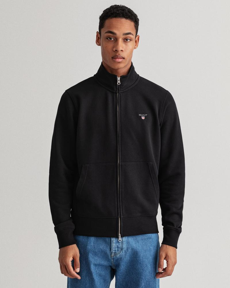GANT Erkek Siyah Regular Fit Fermuarlı Sweatshirt