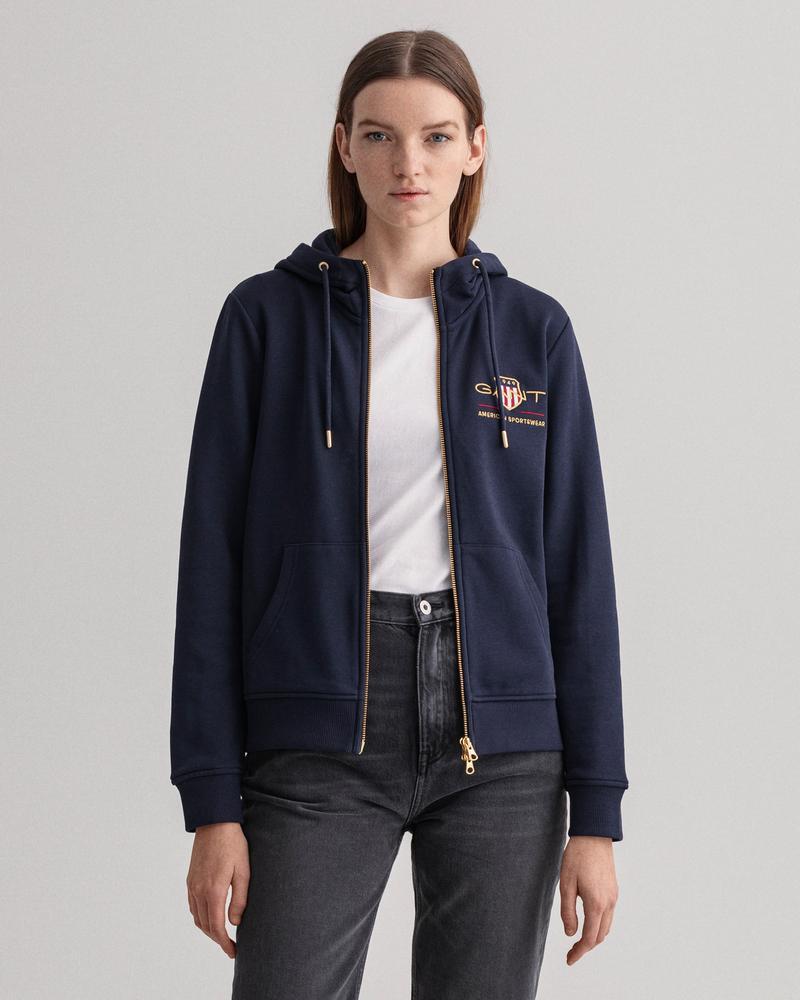 GANT Kadın Lacivert Regular Fit Fermuarlı Sweatshirt