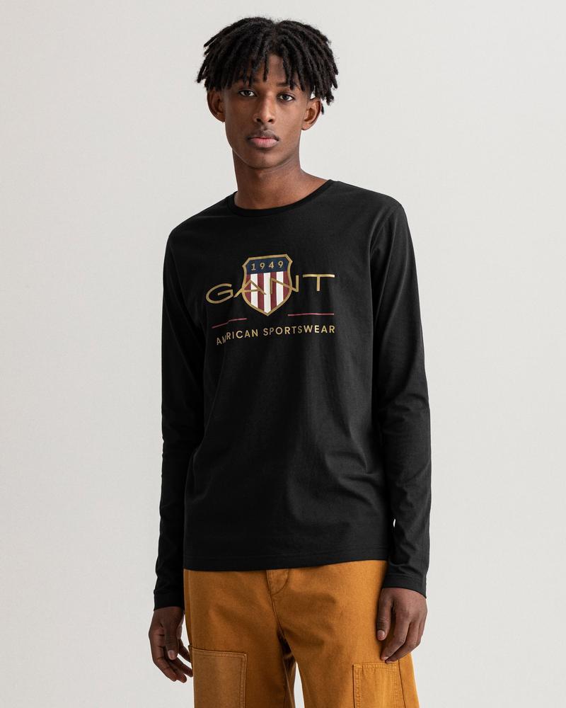 GANT Erkek Siyah Baskılı Uzun Kollu T-shirt