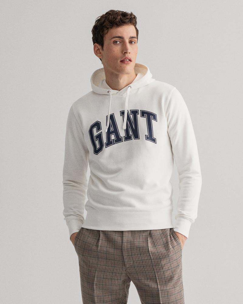 GANT Erkek Krem Baskılı Regular Fit Sweatshirt