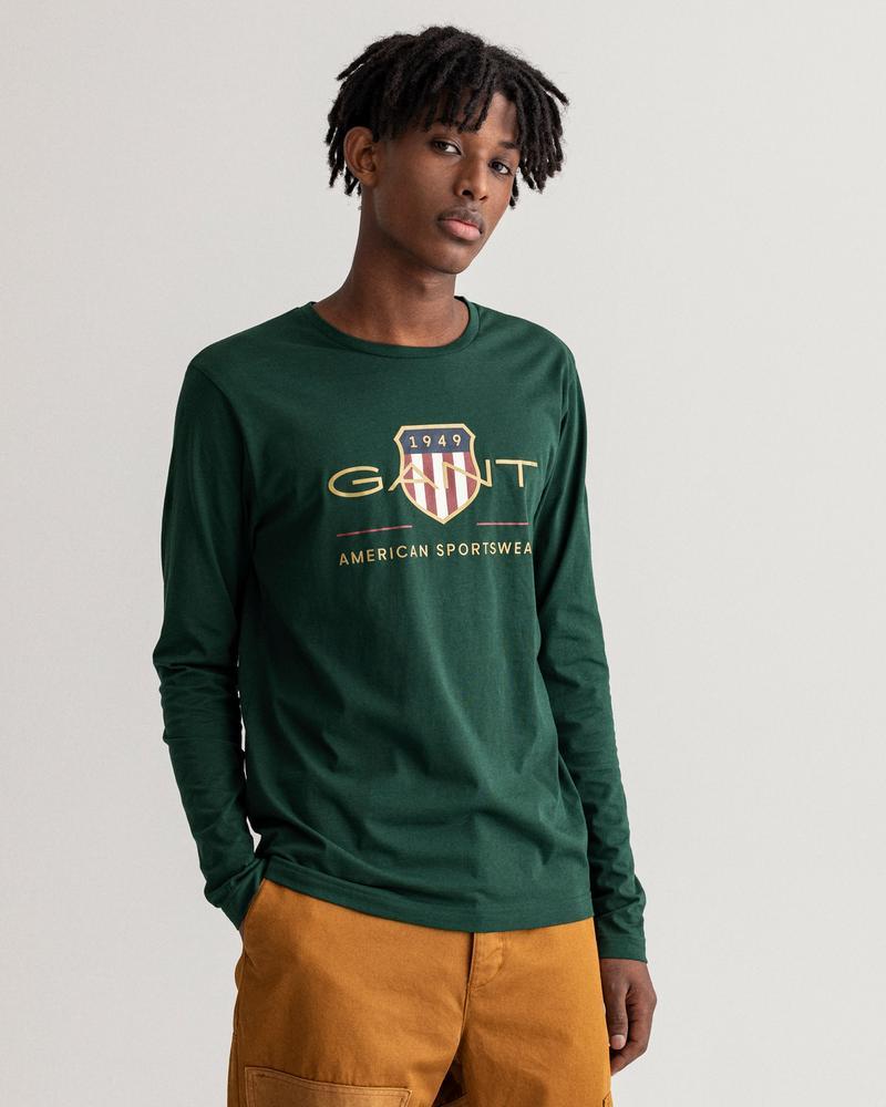 GANT Erkek Yeşil Baskılı Uzun Kollu T-shirt