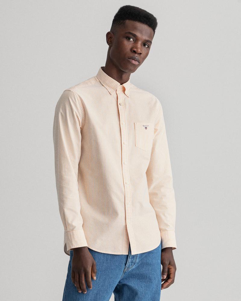 Gant Erkek Sarı Çizgili Regular Fit Gömlek