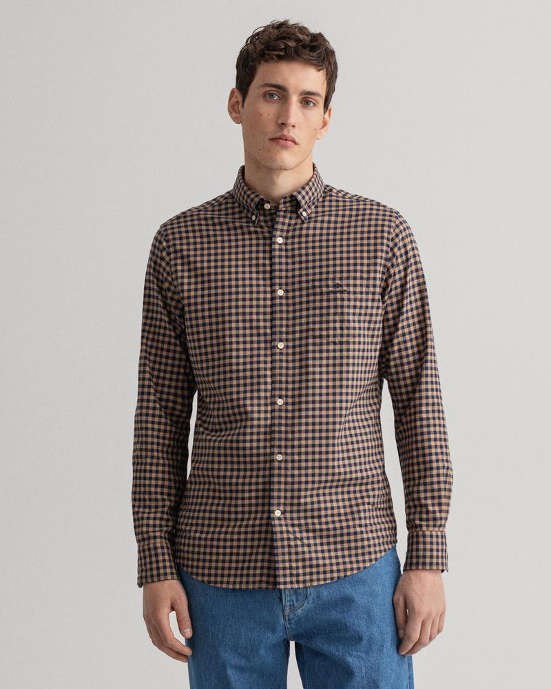 Gant Erkek Kahverengi Kareli Regular Fit Gömlek