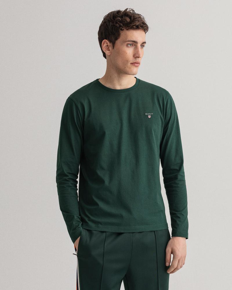 Gant Erkek Yeşil Regular Fit Uzun Kollu T-shirt